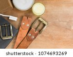 top view of old genuine leather ... | Shutterstock . vector #1074693269