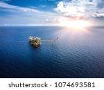 aerial view industrial offshore ... | Shutterstock . vector #1074693581