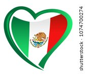 mexico flag in shape of heart | Shutterstock .eps vector #1074700274