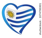 uruguay flag in shape of hear | Shutterstock .eps vector #1074700301
