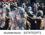 santiago  chile   april 19 ... | Shutterstock . vector #1074702971