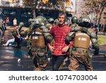santiago  chile   april 19 ... | Shutterstock . vector #1074703004
