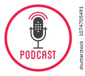 podcast radio icon illustration.... | Shutterstock .eps vector #1074705491