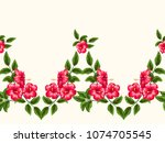 cute simple floral border.... | Shutterstock .eps vector #1074705545