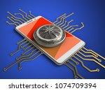 3d illustration of white phone... | Shutterstock . vector #1074709394