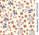orient seamless floral pattern. ... | Shutterstock .eps vector #1074712619