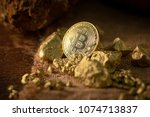 gold bitcoin physical and gold... | Shutterstock . vector #1074713837