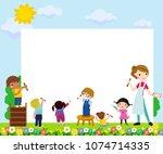 teacher and children painting | Shutterstock .eps vector #1074714335