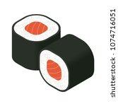sushi rolls. isometric vector... | Shutterstock .eps vector #1074716051