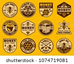 honey set of colored bright... | Shutterstock .eps vector #1074719081