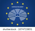 european parliament in the... | Shutterstock .eps vector #1074723851