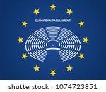 european parliament in the... | Shutterstock .eps vector #1074723851