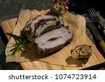 roasted pork chop stuffed with... | Shutterstock . vector #1074723914