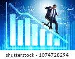 businessman sliding down on...   Shutterstock . vector #1074728294
