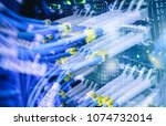 close up fiber optic cable.... | Shutterstock . vector #1074732014