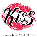 kiss me lettering text on white ... | Shutterstock .eps vector #1074732245