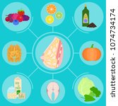 infographics with foods helpful ... | Shutterstock .eps vector #1074734174