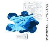 blue brush stroke and texture.... | Shutterstock .eps vector #1074735731
