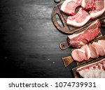 different types of raw pork... | Shutterstock . vector #1074739931