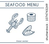 fresh seafood linear icons with ... | Shutterstock .eps vector #1074743249