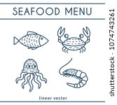 fresh seafood linear icons with ... | Shutterstock .eps vector #1074743261