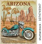 vintage arizona motorcycle... | Shutterstock . vector #1074745547
