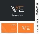 w   e line logo stroke letter...   Shutterstock .eps vector #1074745934