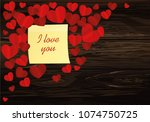 many hearts with yellow sheet... | Shutterstock .eps vector #1074750725