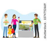 family buying tv in a... | Shutterstock .eps vector #1074752669
