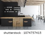 front view of a black wall bar... | Shutterstock . vector #1074757415