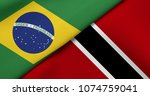 flag of brazil and trinidad and ... | Shutterstock . vector #1074759041