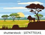 african landscape  lion ...   Shutterstock .eps vector #1074770141