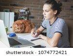 girl student freelancer working ... | Shutterstock . vector #1074772421