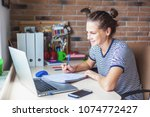 girl student freelancer working ... | Shutterstock . vector #1074772427