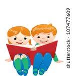 couple of kids reading book | Shutterstock .eps vector #107477609