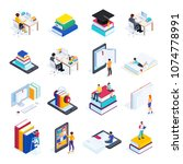 isometric concept e learning.... | Shutterstock .eps vector #1074778991