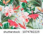 floral seamless vector tropical ... | Shutterstock .eps vector #1074782225