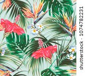 floral seamless vector tropical ... | Shutterstock .eps vector #1074782231