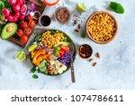 healthy balanced vegetarian...   Shutterstock . vector #1074786611