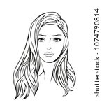 face of a beautiful young woman ... | Shutterstock .eps vector #1074790814