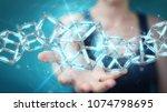 businesswoman on blurred... | Shutterstock . vector #1074798695