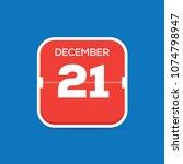 december 21 calendar flat icon