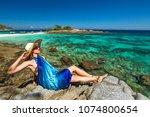 summer holidays in andaman sea. ... | Shutterstock . vector #1074800654