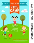 summer camp ad  poster or flyer ... | Shutterstock .eps vector #1074803495