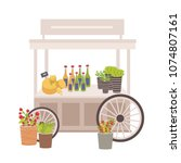 wheeled cart  marketplace or... | Shutterstock .eps vector #1074807161