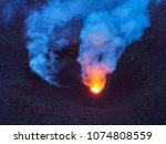 lava eruption of the stromboli... | Shutterstock . vector #1074808559