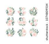 hexagons. flower pattern. | Shutterstock .eps vector #1074809534