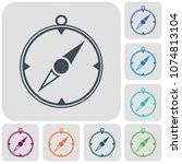compass icon isolated. vector... | Shutterstock .eps vector #1074813104