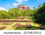 sigiriya rock or lion rock is... | Shutterstock . vector #1074815411
