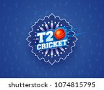 t20 cricket text on blue... | Shutterstock .eps vector #1074815795
